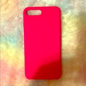 Hot pink silicone iPhone 8+ phone case